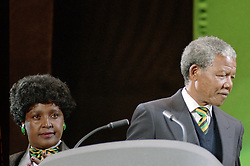 16/04/1990<br />Nelson Mandela: An International Tribute for a Free South Africa Concert at Wembley Stadium<br />Nelson Mandela with his wife Winnie on stage / action press