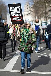 © Licensed to London News Pictures. 22/02/2020. London, UK. Supporters of Wikileaks Founder Julian Assange protest outside in central London against his extradition to the United States to face espionage charges. The first phase of Assange's extradition hearing will begin on 24 February in London. Photo credit: Rob Pinney/LNP