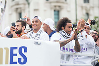 Nacho, Keylor Navas and Marcelo during the celebration of the victory of the Real Madrid Champions League at Plaza de Cibeles in Madrid. May 28. 2016. (ALTERPHOTOS/Borja B.Hojas)