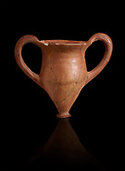 Hittite terra cotta two handled drinking vessel. Hittite Period, 1600 - 1200 BC.  Hattusa Boğazkale. Çorum Archaeological Museum, Corum, Turkey. Against a black bacground. .<br />  <br /> If you prefer to buy from our ALAMY STOCK LIBRARY page at https://www.alamy.com/portfolio/paul-williams-funkystock/hittite-art-antiquities.html  - Type Hattusa into the LOWER SEARCH WITHIN GALLERY box. Refine search by adding background colour, place,etc<br /> <br /> Visit our HITTITE PHOTO COLLECTIONS for more photos to download or buy as wall art prints https://funkystock.photoshelter.com/gallery-collection/The-Hittites-Art-Artefacts-Antiquities-Historic-Sites-Pictures-Images-of/C0000NUBSMhSc3Oo