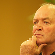 New Zealand coach Graham Henry during a press conference in Auckland at the IRB Rugby World Cup tournament, Auckland, New Zealand, 17th October 2011. Photo Tim Clayton...