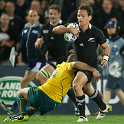 Aaron Cruden, New Zealand, is tackled by Will Genia, Australia, in action during the New Zealand V Australia Semi Final match at the IRB Rugby World Cup tournament, Eden Park, Auckland, New Zealand, 16th October 2011. Photo Tim Clayton...