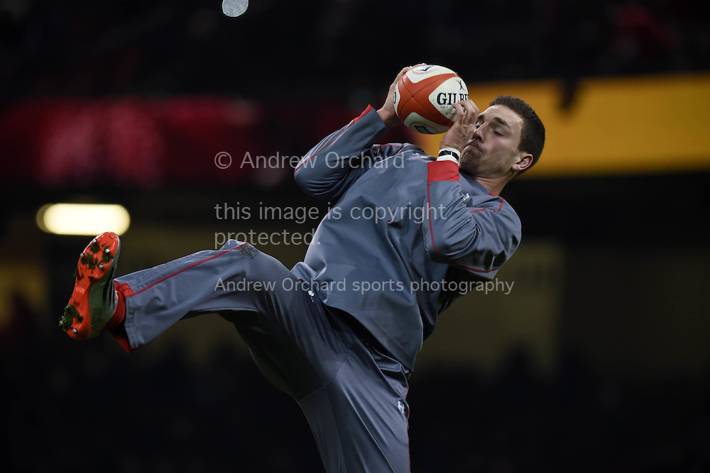 George North of Wales in action during the warm up. RBS Six nations championship 2015, Wales v England at the Millennium Stadium in Cardiff, South Wales on Friday 6th  Feb 2015. pic by Andrew Orchard, Andrew Orchard sports photography.
