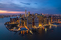 Aerial view of Manhattan during the night, New York, USA