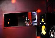 Nekita recording in the studio.