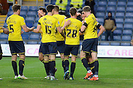 Oxford United midfielder Alex MacDonald celebrates opening goal during the Sky Bet League 2 match between Oxford United and Carlisle United at the Kassam Stadium, Oxford, England on 12 December 2015. Photo by Alan Franklin.