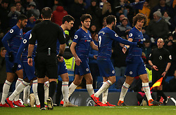 Chelsea's David Luiz (right) celebrates scoring his side's fifth goal of the game with team mates