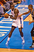 June 2, 2012; Oklahoma City, OK, USA; Oklahoma City Thunder center Kendrick Perkins (5) looks to make a pass during a playoff game against the San Antonio Spurs at Chesapeake Energy Arena.  Thunder defeated the Spurs 109-103 Mandatory Credit: Beth Hall-US PRESSWIRE
