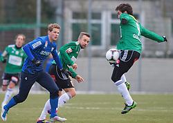 14.01.2012, Stadion Ried alt, Ried im Innkreis, AUT, 1.FBL, SV Josko Ried vs SV Scholz Groedig, im Bild (v.l.n.r.) Sebastian Siller, (SV Scholz Groedig, #6), Stefan Lexa, (SV Josko Ried, #8) und Guillem Marti Misut, (SV Josko Ried, #9), EXPA Pictures © 2012, PhotoCredit: EXPA/ R. Hackl
