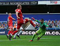 Queens Park Rangers' Seny Dieng makes a save against Birmingham City's Marc Roberts<br /> <br /> Photographer Stephanie Meek/CameraSport<br /> <br /> The EFL Sky Bet Championship - Queens Park Rangers v Birmingham City - Saturday 24th October 2020 - Loftus Road - Queens Park Rangers<br /> <br /> World Copyright © 2020 CameraSport. All rights reserved. 43 Linden Ave. Countesthorpe. Leicester. England. LE8 5PG - Tel: +44 (0) 116 277 4147 - admin@camerasport.com - www.camerasport.com