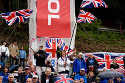 Spectators of Great Britain at tribune in finish area during finals at Rowing World Cup  on May 30, 2010, at Bled's lake in Zaka, Bled, Slovenia. (Photo by Vid Ponikvar / Sportida)