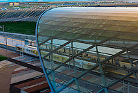 A glass canopy covers the train station at Denver International Airport, Denver, Colorado USA.