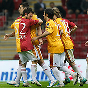 Galatasaray's Milan BAROS (B) celebrate his goal with team mate during their Turkish Super League soccer match Galatasaray between Kasimpasaspor at the TT Arena at Seyrantepe in Istanbul Turkey on Monday 09 May 2011. Photo by TURKPIX