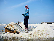 28 MARCH 2018 - BAN LAEM, PHETCHABURI, THAILAND: Workers gather salt during the 2018 salt harvest in Petchaburi province, about two hours south of Bangkok. Sea salt is made in provinces south of Bangkok by flooding fields with ocean water after the rainy season. As the fields dry out from evaporation, workers go into the fields and gather the salt left behind.  PHOTO BY JACK KURTZ