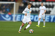 Tom Carroll of Swansea City in action. Premier league match, Swansea city v Leicester city at the Liberty Stadium in Swansea, South Wales on Saturday 21st October 2017.<br /> pic by  Andrew Orchard, Andrew Orchard sports photography.