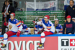 Oleg Znarok, head coach of Russia, Sergei Plotnikov of Russia and Alexander Ovechkin of Russia during Ice Hockey match between USA and Russia at Semifinals of 2015 IIHF World Championship, on May 16, 2015 in O2 Arena, Prague, Czech Republic. Photo by Vid Ponikvar / Sportida