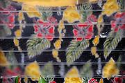 Hawaiian design on curtain, viewed through louvre window. Oahu, Hawaii