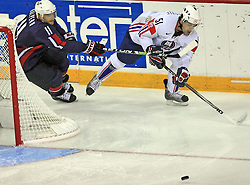 Jeff Halpern (11) and Jakob Milovanovic  at ice-hockey match USA vs Slovenia at Preliminary Round (group B) of IIHF WC 2008 in Halifax, on May 04, 2008 in Metro Center, Halifax, Nova Scotia, Canada. (Photo by Vid Ponikvar / Sportal Images)