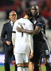 18 October 2017 -  UEFA Champions League - (Group A) - SL Benfica v Manchester United - Romelu Lukaku of Manchester United comforts a dejected Mile Svilar of Benfica whose mistake gifted United the win - Photo: Marc Atkins/Offside