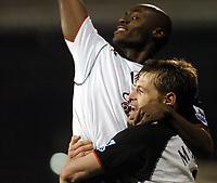 Photo: Javier Garcia/Digitalsport<br /> 30/11/2004 Fulham v Chelsea, Carling Cup Quarter Final, Craven Cottage<br /> Brian Mcbride, bottom, celebrates his equaliser with sub Elvis Hammond