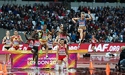 London, August 09 2017 . Colleen Quigley, USA, launches off the water jump hurdle in the women's 3,000m steeplechase heats on day six of the IAAF London 2017 world Championships at the London Stadium. © Paul Davey.