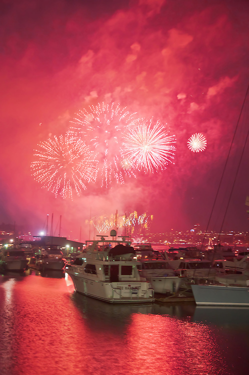 Fireworks explode over Lake Union on the 4'th of July, in Seattle, Washington.  Photo by William Byrne Drumm.