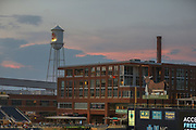 A general overall view of the Durham Bulls Athletic Park at sunset during the MiLB International Championship baseball game, Thursday, September 12, 2019, in Durham, N.C. The Columbus Clippers beat the Durham Bulls 6-2 to complete a three-game sweep of the two-time defending champion. (Brian Villanueva/Image of Sport)