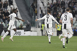 May 3, 2019 - Turin, Piedmont, Italy - Cristiano Ronaldo (Juventus FC) celebrates after scoring with teammates during the Serie A football match between Juventus FC and Torino FC at Allianz Stadium on May 03, 2019 in Turin, Italy..Final results: 1-1. (Credit Image: © Massimiliano Ferraro/NurPhoto via ZUMA Press)