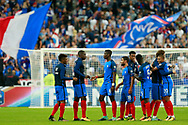 French players celebrate after the FIFA World Cup Russia 2018, Qualifying Group A football match between France and Netherlands on August 31, 2017 at the Stade de France in Saint-Denis, north of Paris, France - Photo Benjamin Cremel / ProSportsImages / DPPI