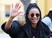 Recording artist Ciara smiles and waves after NFC practice at ESPN Wide World of Sports. Ciara is the wife of Seattle Seahawks quarterback Russell Wilson (not pictured), Wednesday, Jan 22, 2020, in Kississimee, Fla. (Steve Jacobson/Image of Sport)