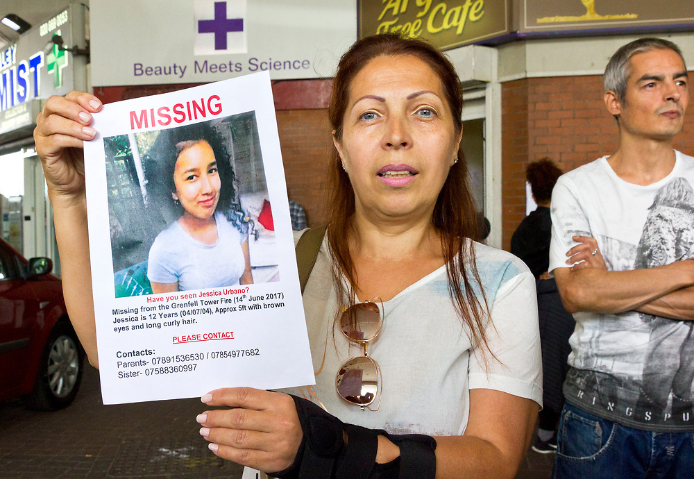 15 June 2017 taken between the hours of 12.12 - 14.41<br /> <br /> The Grenfell Tower fire occurred on 14 June 2017 at the 24-storey, 220-foot-high (67 m), tower block of public housing flats in North Kensington, Royal Borough of Kensington and Chelsea, West London. It caused at least 80 deaths and over 70 injuries. A definitive death toll is not expected until at least 2018. As of 5 July 2017, 21 victims had been formally identified by the Metropolitan Police. Authorities were unable to trace any surviving occupants of 23 of the flats.<br /> <br /> Emergency services received the first report of the fire at 00:54 local time. It burned for about 60 hours until finally extinguished. More than 200 firefighters and 45 fire engines from stations all over London were involved in efforts to control the fire. Many firefighters continued to fight pockets of fire on the higher floors after most of the rest of the building had been gutted. Residents of surrounding buildings were evacuated due to concerns that the tower could collapse, but the building was later determined to be structurally sound.<br /> <br /> The tower contained 129 flats. Police were unable to trace any survivors from 23 of these, and their occupants are believed to have died in the fire. Firefighters rescued 65 people. Seventy-four people were confirmed to be in six hospitals across London, and 17 of them were in a critical condition. The fire started in a fridge-freezer on the fourth floor. The growth of the fire is believed to have been accelerated by the building's exterior cladding.  ( Source Wikipedia}