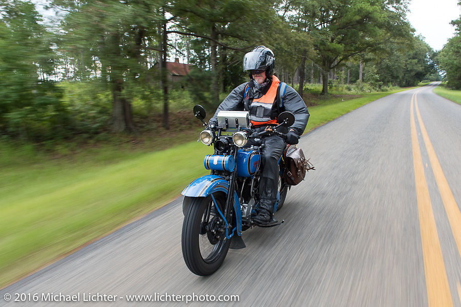 Pat Simmons of the Doobie Brothers riding his 1929 Harley-Davidson JD during Stage 2 of the Motorcycle Cannonball Cross-Country Endurance Run, which on this day ran from Lake City, FL to Columbus, GA., USA. Saturday, September 6, 2014.  Photography ©2014 Michael Lichter.