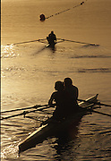Sydney, AUSTRALIA, Crews, move away from the boating dock to take part in an early morning training session, at the 2000 Olympic Regatta, Penrith Lakes. [Photo Peter Spurrier/Intersport Images] 2000 Olympic Rowing Regatta00085138.tif