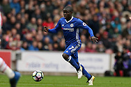 N'Golo Kante of Chelsea in action. Premier league match, Stoke City v Chelsea at the Bet365 Stadium in Stoke on Trent, Staffs on Saturday 18th March 2017.<br /> pic by Andrew Orchard, Andrew Orchard sports photography.