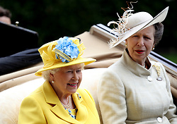 Queen Elizabeth II and the Princess Royal during day one of Royal Ascot at Ascot Racecourse.