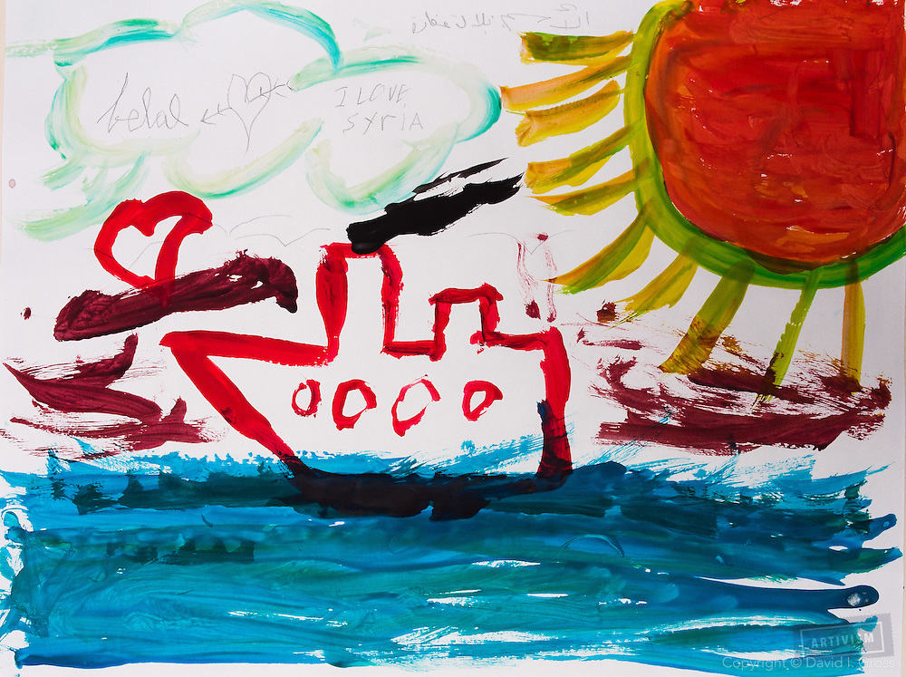 A boat on the ocean. Drawing by 10-12 yr old boy, from art session with the neighborhood boys--not from the school. Topic for session: what do you dream about or hope for?