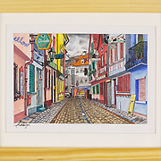 """Title: In der Strasse<br /> Artist: Sophia Rumbarger<br /> Date: 2018<br /> Medium: Gouache, watercolor & ink<br /> Dimensions: 11 x 9""""<br /> Instructor: Pehr Smith<br /> Awards: 42nd Annual Student Art Exhibition - 2nd Place in Painting, 2018 President's Award <br /> Status: Available<br /> Location: HLC Storage"""