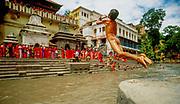 Boy dives into Bagmati river,  during Teej women's festival, Pashupatinath, Kathmandu, Nepal