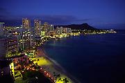 Sunset, Wakiki Beach, Diamond Head, Oahu, Hawaii<br />