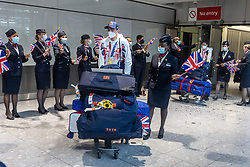 Licensed to London News Pictures. 09/08/202. London, UK. Tokyo Olympic medalists are greeted by their families  at London Heathrow Terminal 5 as Team GB celebrate 22 gold medals in one of the most successful Olympics on record. Photo credit: Alex Lentati/LNP