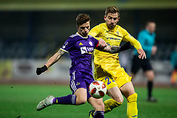 Luka Zahovic of NK Maribor vs Dario Melnjak of NK Domzale during football match between NK Domzale and NK Maribior in 18th Round of Prva liga Telekom Slovenije 2018/19, on November 11, 2018 in Sportni Park, Domzale, Slovenia. Photo by Vid Ponikvar / Sportida