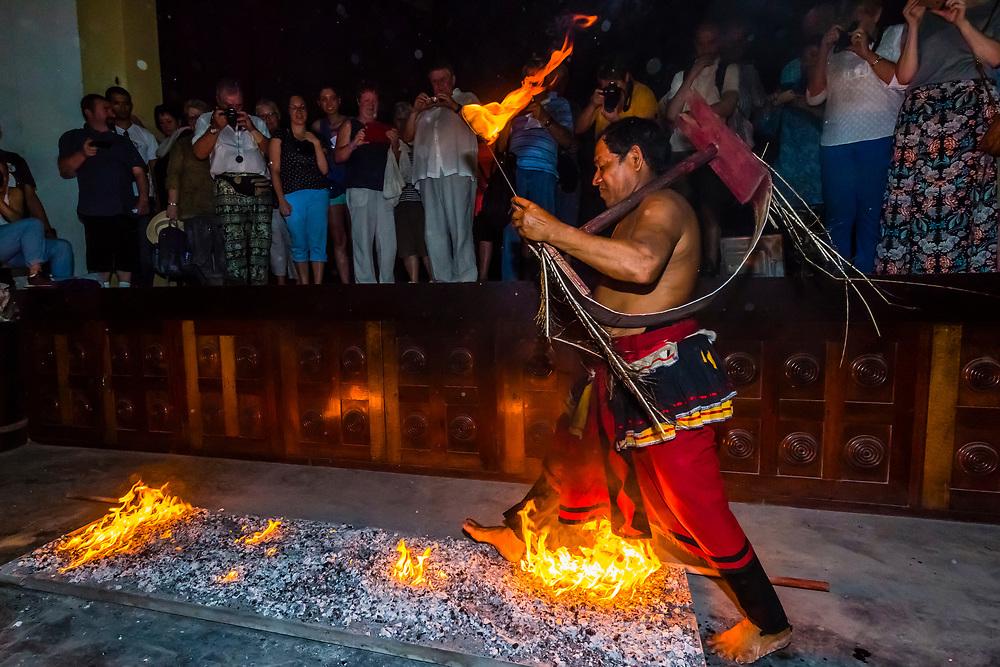 "Fire walking, ""Dances of Sri Lanka"" cultural performance, Kandy, Central Province, Sri Lanka."