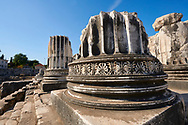 Picture of the freize around a column base of the ruins of the Ancient Ionian Greek  Didyma Temple of Apollo & home to the Oracle of Apollo.  Also known as the Didymaion completed circa 550 BC. modern Didim in Aydin Province, Turkey. .<br /> <br /> If you prefer to buy from our ALAMY PHOTO LIBRARY  Collection visit : https://www.alamy.com/portfolio/paul-williams-funkystock/didyma-temple-turkey.html<br /> <br /> Visit our TURKEY PHOTO COLLECTIONS for more photos to download or buy as wall art prints https://funkystock.photoshelter.com/gallery-collection/3f-Pictures-of-Turkey-Turkey-Photos-Images-Fotos/C0000U.hJWkZxAbg