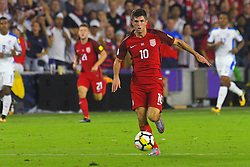 October 6, 2017 - Orlando, Florida, USA - United States midfielder Christian Pulisic (10) brings the ball upfield during a World Cup qualifying game against Panama at Orlando City Stadium on Oct. 6, 2017 in Orlando, Florida.  The US won 4-0....Zuma Press/Scott Miller (Credit Image: © Scott A. Miller via ZUMA Wire)