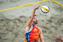 Ruben Penninga in action during the third day of the beach volleyball event King of the Court at Jaarbeursplein on September 11, 2020 in Utrecht.