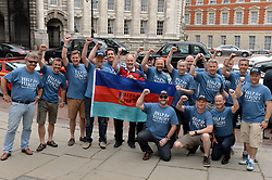 Image ©Licensed to i-Images Picture Agency. 18/06/2014. <br /> <br /> Pictured are the team of drivers setting of from The Mall, London, to Norway.<br /> <br /> Nine Porsche 944's, all bought for £1100 of less, set of from the Mall, London on a rally across Northern Europe to Nordkapp in Norway in an attempt to raise £100,000 for Help For Heroes.<br /> <br /> Wednesday 18th June 2014<br /> Picture by Ben Stevens / i-Images