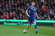 Gary Cahill of Chelsea in action. Premier league match, Stoke City v Chelsea at the Bet365 Stadium in Stoke on Trent, Staffs on Saturday 18th March 2017.<br /> pic by Andrew Orchard, Andrew Orchard sports photography.