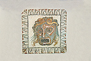 Roman floor mosaic of a tragic actors mask from the  Villa de Ruffinella, Tusculum. End of 1st and beginning of 2nd century AD. National Roman Museum, Rome, Italy .<br /> <br /> If you prefer to buy from our ALAMY PHOTO LIBRARY  Collection visit : https://www.alamy.com/portfolio/paul-williams-funkystock/national-roman-museum-rome-mosaic.html <br /> <br /> Visit our ROMAN ART & HISTORIC SITES PHOTO COLLECTIONS for more photos to download or buy as wall art prints https://funkystock.photoshelter.com/gallery-collection/The-Romans-Art-Artefacts-Antiquities-Historic-Sites-Pictures-Images/C0000r2uLJJo9_s0