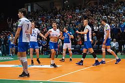 12-05-2019 NED: Abiant Lycurgus - Achterhoek Orion, Groningen<br /> Final Round 5 of 5 Eredivisie volleyball, Orion wins Dutch title after thriller against Lycurgus 3-2 / Frits van Gestel #7 of Lycurgus , Stijn Held #3 of Lycurgus , Dennis Borst #18 of Lycurgus , Wytze Kooistra #2 of Lycurgus