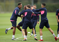 Arsenal's Pierre-Emerick Aubameyang (left), Alexandre Lacazette and Granit Xhaka (right) during the training session at London Colney, Hertfordshire.